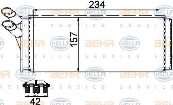 BEHR HELLA SERVICE 8FH351311421 Теплообменник, отопление салона