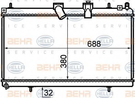 BEHR HELLA SERVICE 8MK376732761 Радиатор, охлаждение двигателя