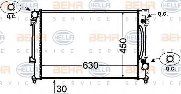 BEHR HELLA SERVICE 8MK376766231 Радиатор, охлаждение двигателя