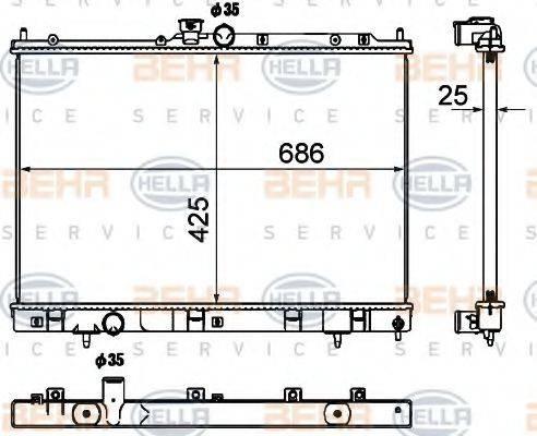 BEHR HELLA SERVICE 8MK376790361 Радиатор, охлаждение двигателя