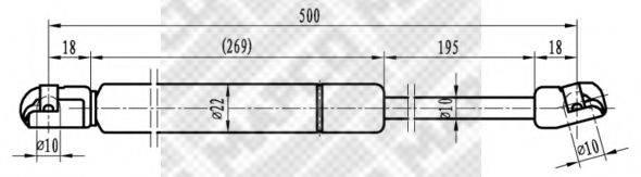 MAPCO 91804 Газовая пружина, крышка багажник