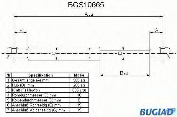 BUGIAD BGS10665 Газовая пружина, крышка багажник