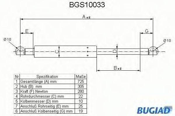 BUGIAD BGS10033 Газовая пружина, капот