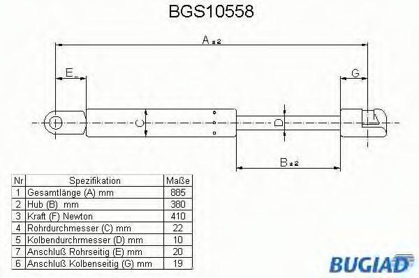 BUGIAD BGS10558 Газовая пружина, капот