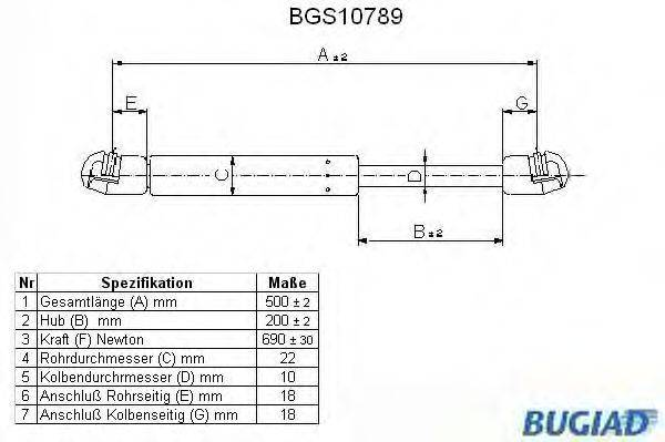 BUGIAD BGS10789 Газовая пружина, крышка багажник