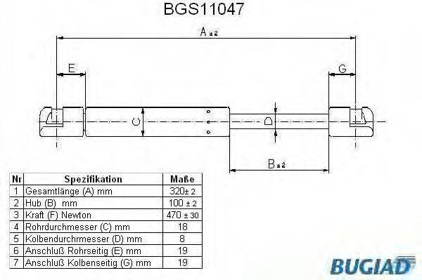 BUGIAD BGS11047 Газовая пружина, крышка багажник