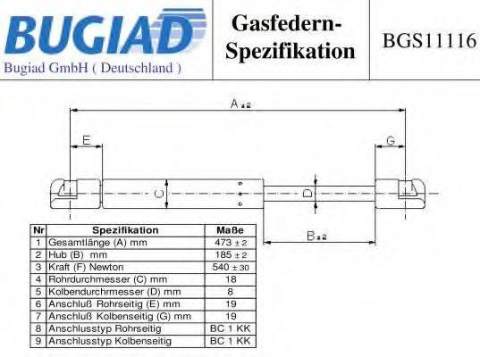 BUGIAD BGS11116 Газовая пружина, крышка багажник