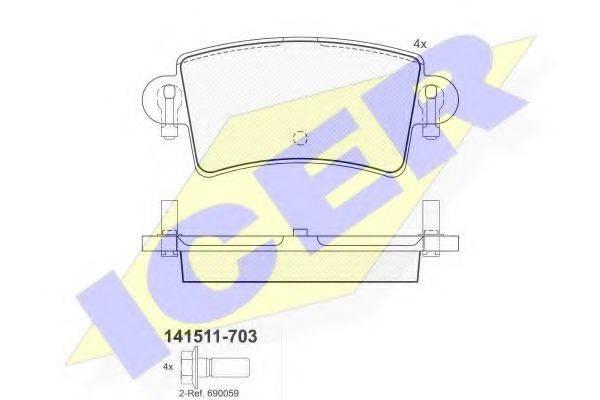 ICER 141511703 Комплект тормозных колодок, дисковый тормоз