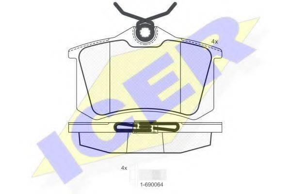 ICER 180697703 Комплект тормозных колодок, дисковый тормоз