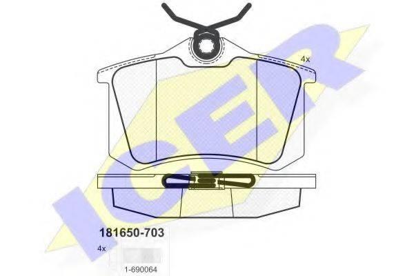 ICER 181650703 Комплект тормозных колодок, дисковый тормоз