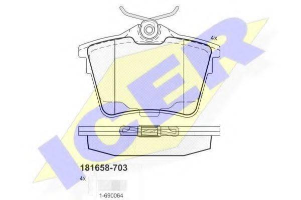 ICER 181658703 Комплект тормозных колодок, дисковый тормоз