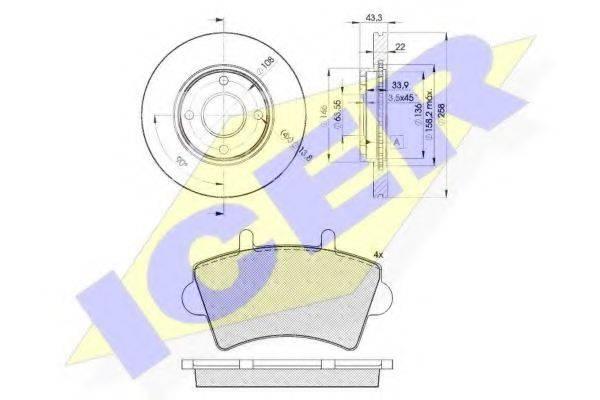 ICER 314425344 Комплект тормозов, дисковый тормозной механизм