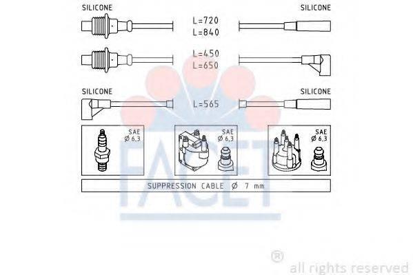 FACET 48748 Комплект проводов зажигания