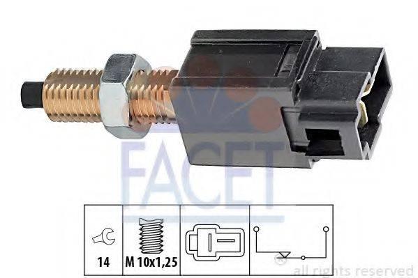 FACET 71169 Выключатель фонаря сигнала торможения; Выключатель, привод сцепления (Tempomat)