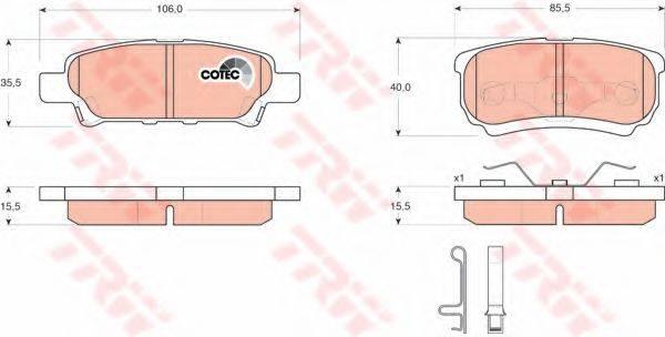 TRW GDB3341 Комплект тормозных колодок, дисковый тормоз