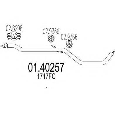 MTS 0140257 Труба выхлопного газа
