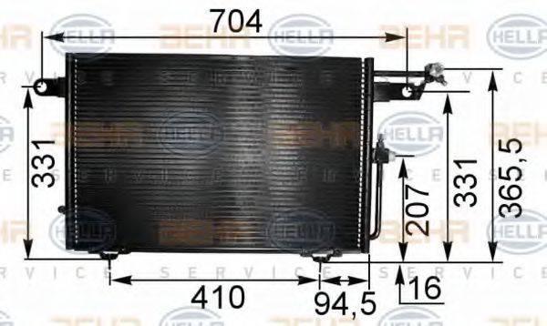 HELLA 8FC351035531 Конденсатор, кондиционер