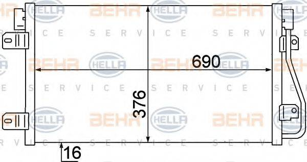 HELLA 8FC351306641 Конденсатор, кондиционер