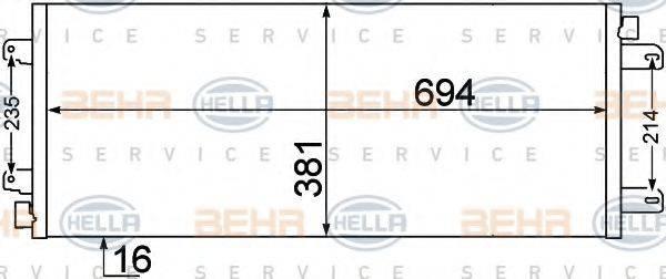 HELLA 8FC351306651 Конденсатор, кондиционер