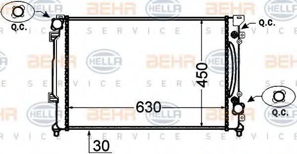 HELLA 8MK376766231 Радиатор, охлаждение двигателя