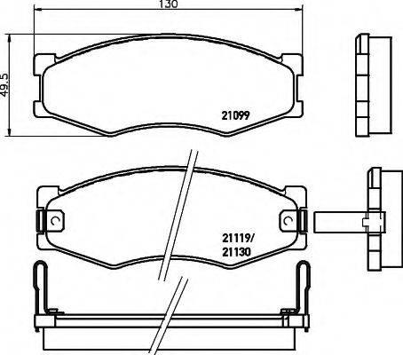 HELLA 8DB355005621 Комплект тормозных колодок, дисковый тормоз