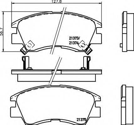 HELLA 8DB355005781 Комплект тормозных колодок, дисковый тормоз