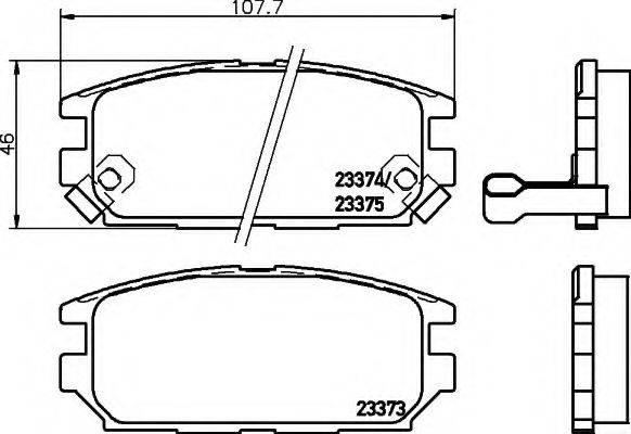 HELLA 8DB355009291 Комплект тормозных колодок, дисковый тормоз