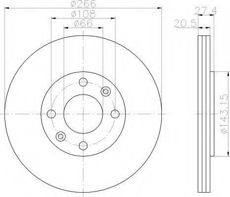 HELLA 8DD355102051 Тормозной диск