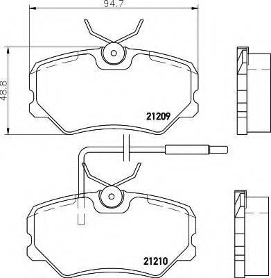 HELLA 8DB355017741 Комплект тормозных колодок, дисковый тормоз