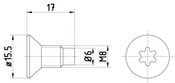 HELLA 8DZ355209041 Болт, диск тормозного механизма