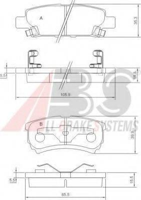 A.B.S. 37384 Комплект тормозных колодок, дисковый тормоз