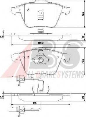 A.B.S. 37425 Комплект тормозных колодок, дисковый тормоз