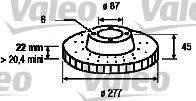 VALEO 186653 Тормозной диск