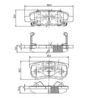 NIPPARTS N3615015 Комплект тормозных колодок, дисковый тормоз