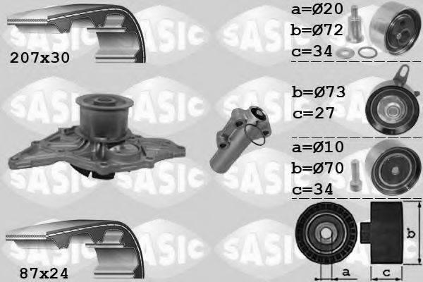 SASIC 3906058 Водяной насос + комплект зубчатого ремня