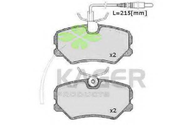 KAGER 350027 Комплект тормозных колодок, дисковый тормоз