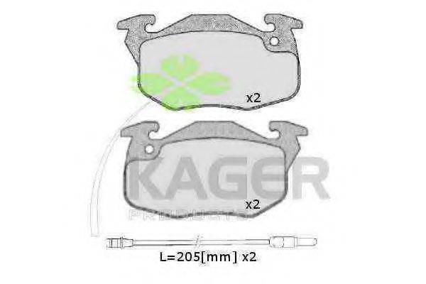 KAGER 350122 Комплект тормозных колодок, дисковый тормоз