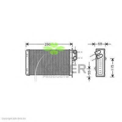 KAGER 320096 Теплообменник, отопление салона