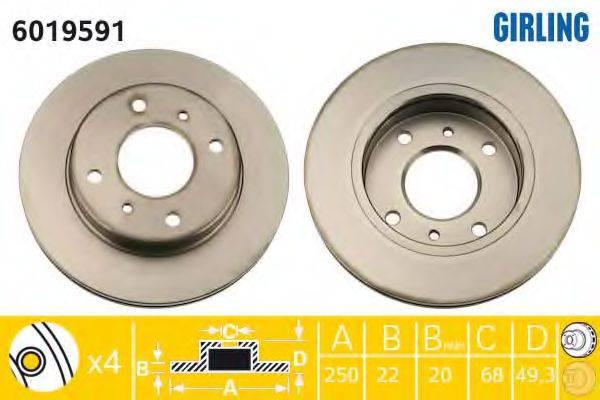 GIRLING 6019591 Тормозной диск