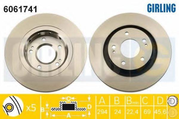 GIRLING 6061741 Тормозной диск