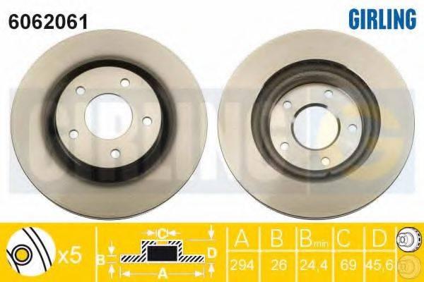 GIRLING 6062061 Тормозной диск