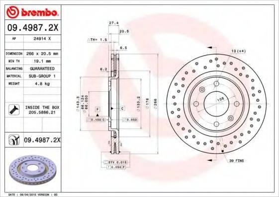 AP 24914X Тормозной диск