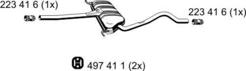 ERNST 204163 Средний глушитель выхлопных газов
