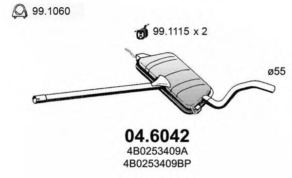 ASSO 046042 Средний глушитель выхлопных газов