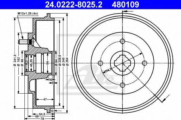 ATE 24022280252 Тормозной барабан