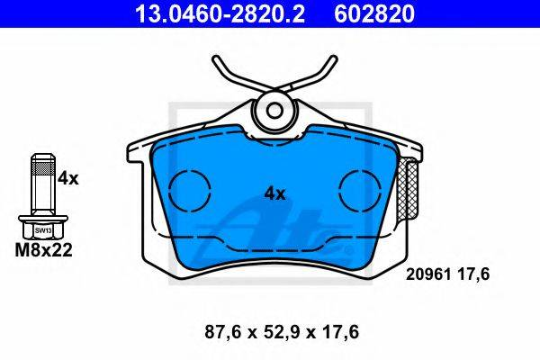 ATE 13046028202 Комплект тормозных колодок, дисковый тормоз