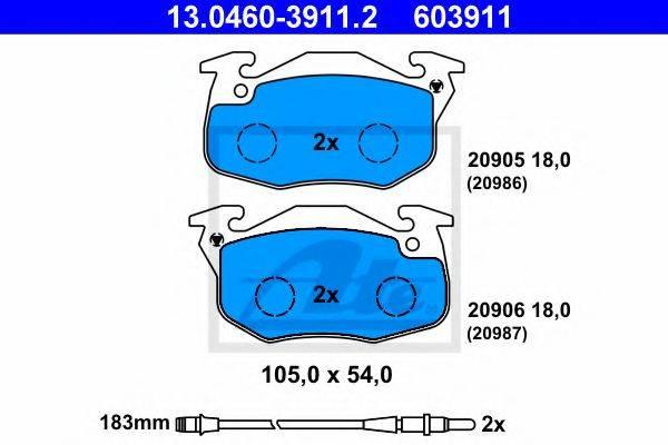 ATE 13046039112 Комплект тормозных колодок, дисковый тормоз