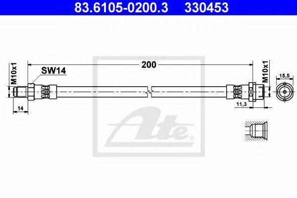 ATE 83610502003 Тормозной шланг