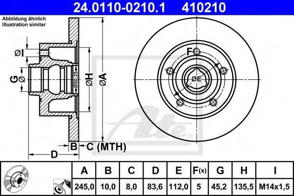 ATE 24011002101 Тормозной диск