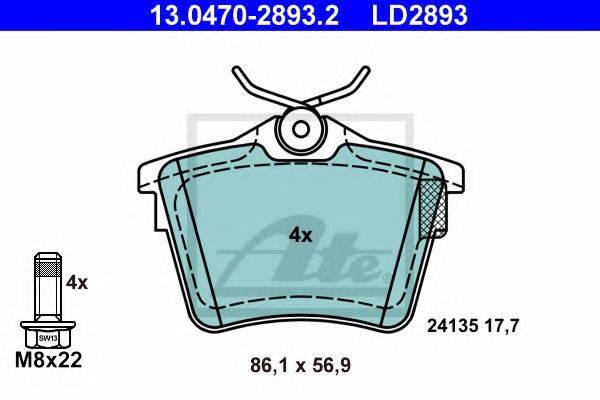 ATE 13047028932 Комплект тормозных колодок, дисковый тормоз
